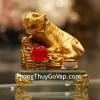 Hổ vàng trên đống tiền vàng đế thủy tinh C124A