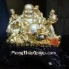 Phật di lạc vàng ngồi ôm 5 đồng tử C134A