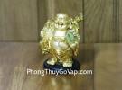 Phật di lạc vàng vác bao vàng dán xe nhỏ C136A