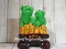 Hoàng gia heo xanh ngọc trên đống tiền vàng lớn LN018