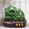 Thần tài heo xanh ngọc trên túi tài lộc gỗ LN024