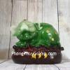 Thần tài heo xanh ngọc trên túi tài lộc gỗ nhỏ LN025