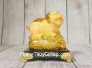 Vua heo vàng kim sa trên túi vàng lớn đế thuỷ tinh  LN037