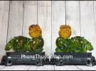 Cặp tỳ hưu ngọc xanh lưu ly trên đế gỗ LN049