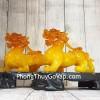 Cặp tỳ hưu ngọc vàng cam đế gỗ lớn LN050
