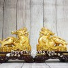 Cặp tỳ hưu vàng trên đống tiền vàng đế gỗ LN054