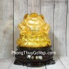 Thiềm thừ vàng trên túi vàng lớn đế gỗ xoay LN090