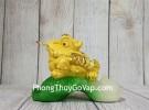 Thiềm thừ vàng kim sa ngậm xâu vàng trên lá cải ngọc xanh LN107