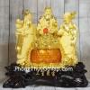 Tam đa phước lộc thọ vàng kim sa bên hũ vàng lưu ly lớn LN112