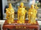 Tam đa phước lộc thọ vàng bóng trên đế gỗ LN114