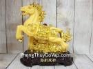 Vua ngựa kim sa vàng bóng trên đá vàng đế gỗ LN127