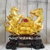 Song đế ngựa rồng vàng bên bồn tụ bảo vàng hồng ngọc đế gỗ lớn LN129