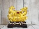 Song đế ngựa rồng kim sa vàng bên bồn tụ bảo vàng hồng ngọc đế gỗ LN130