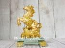 Vua ngựa vàng bóng trên nguyên bảo vàng tiền vàng đế thuỷ tinh LN136
