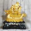 Thuyền buồm đầu rồng vàng bóng chở tiền vàng trên sóng vàng khủng LN138