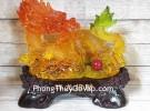 Vua rồng vàng cam ngọc lưu ly nhả hồng ngọc trên đống kim nguyên bảo khủng LN147