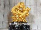 Thần rồng tiên phụng vàng kim sa bóng trên núi mây vàng đế gỗ khủng LN157