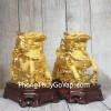 Song đế kỳ lân vàng kim sa bóng cưỡi mây vàng đế gỗ LN159