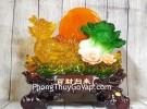 Thần rùa đầu rồng vàng lưu ly kéo bắp cải xanh trăng cam trên hồ sen hồng LN161
