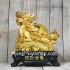 Thần rùa đầu rồng vàng bóng mai điểm hồng ngọc trên đống tiền vàng đế gỗ LN162