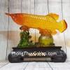 Thần cá kim long cam ngọc lưu ly trên túi kim bảo lá sen đế gỗ lớn LN166