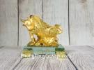 Đại vương trâu vàng bóng mão tiền vàng dũng mãnh trên núi đá vàng đế thuỷ tinh nhỏ LN177