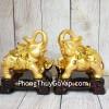 Song đế voi vàng bóng lưng hồng châu chân gác hồ lô nén tiền vàng đế gỗ LN180