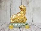 Chúa hổ vàng bóng lưng hồng châu gầm trên núi đá vàng đế thuỷ tinh nhỏ LN183