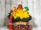 Phật di lạc cam vàng ngọc lưu ly tay cầm như ý bắp cải trên đế lá sen xanh ngọc khủng LN186
