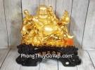 Phật di lạc vàng bóng bên ngũ đồng tử trên túi tài lộc và đống tiền vàng LN188