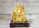 Phật di lạc vàng bóng tay cầm hồ lô vàng túi tiền vàng trên đống vàng LN189