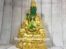 Phật quan âm xanh ngọc hoàng phục vàng bóng trên đài sen vàng lớn LN194