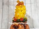 Hồ lô cam vàng ngọc lưu ly đứng chùm vải trên đế mẫu đơn lưu ly đa sắc – Đại Phú Đại Quý LN198