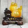 Hồ lô cam vàng ngọc có tỳ hưu vàng lưu ly trên đế gỗ nhà cổ như ý – Tài Phú Lâm Môn LN200