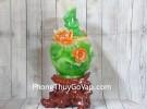 Bình tài lộc xanh ngọc viền vàng hoa sen đỏ ngọc đế gỗ nghệ thuật khủng – Hoà Hài Mỹ Mãn LN202