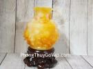 Bình tài lộc cam vàng ngọc chạm hoa mẫu đơn đế gỗ – Hoa Khai Phú Quý LN204