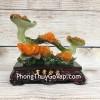 Gậy như ý xanh ngọc đa sắc trên nhánh mẫu đơn cam ngọc đế gỗ – Vạn Sự Như Ý LN209