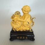 K044M 150x150 Khỉ ôm túi tiền vàng đế  gỗ K044M