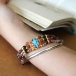 S6279 150x150 Chuỗi đá hồng lục bảo hợp kim hoa sen xanh S6279