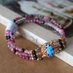 S6279.2 150x150 Chuỗi đá hồng lục bảo hợp kim hoa sen xanh S6279