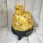 ln162 long quy vang mai diem ngoc 1.jpg 150x150 Thần rùa đầu rồng vàng bóng mai điểm hồng ngọc trên đống tiền vàng đế gỗ LN162