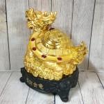 ln162 long quy vang mai diem ngoc.jpg 150x150 Thần rùa đầu rồng vàng bóng mai điểm hồng ngọc trên đống tiền vàng đế gỗ LN162