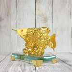 ln167 than ca kim long kim sa.jpg 150x150 Thần cá kim long vàng kim sa vẩy tiền vàng trên sóng vàng đế thuỷ tinh LN167