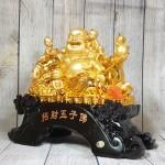ln188 phat di lac ngu dong tu 1.jpg 150x150 Phật di lạc vàng bóng bên ngũ đồng tử trên túi tài lộc và đống tiền vàng LN188