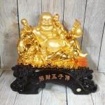 ln188 phat di lac ngu dong tu.jpg 150x150 Phật di lạc vàng bóng bên ngũ đồng tử trên túi tài lộc và đống tiền vàng LN188