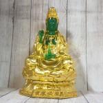 ln194 quan am xanh ngoc 2.jpg 150x150 Phật quan âm xanh ngọc hoàng phục vàng bóng trên đài sen vàng lớn LN194