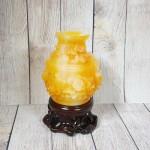 ln204 binh cam mau don 1.jpg 150x150 Bình tài lộc cam vàng ngọc chạm hoa mẫu đơn đế gỗ   Hoa Khai Phú Quý LN204